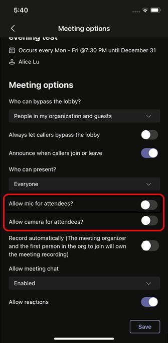 Seleccione Permitir micrófono para los asistentes