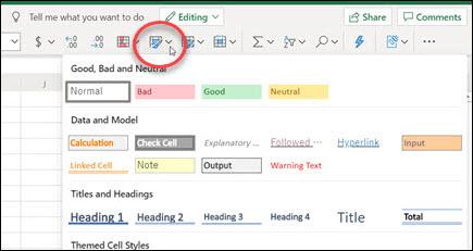 Botón Estilos de celda en la cinta de opciones de Excel para la web