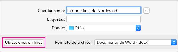 En el menú Archivo, haga clic en Guardar como y luego en Ubicaciones en línea para guardar un documento en una ubicación en línea.