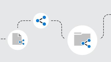 Líneas conectando documentos y carpetas compartidos