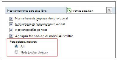 Opciones para mostrar y ocultar objetos en el cuadro de diálogo Opciones de Excel