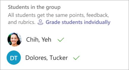 Opción para calificar a los alumnos de uno en uno
