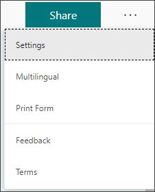 Más opciones de configuración de formulario junto al botón Compartir