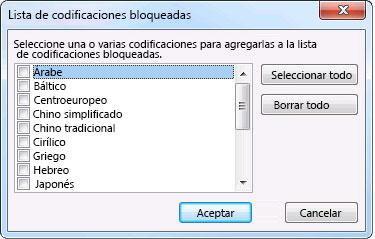 Cuadro de diálogo Lista de codificaciones bloqueadas