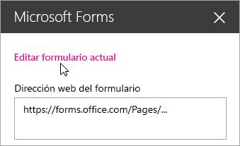 Editar el formulario actual en el panel del elemento web Microsoft Forms de un formulario existente.