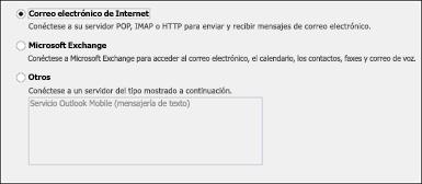 Elija Correo electrónico de Internet