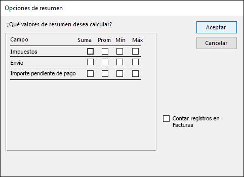 Seleccionar cómo se calculan los valores de resumen en el cuadro de diálogo Opciones de resumen