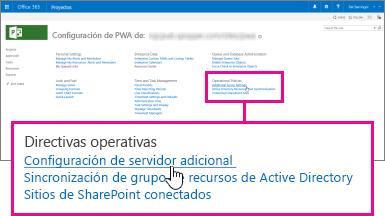 Configuraciones de servidor adicionales en Directivas operativas.