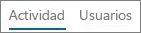 Captura de pantalla de la vista Actividad en el informe de actividades de Yammer de Office 365