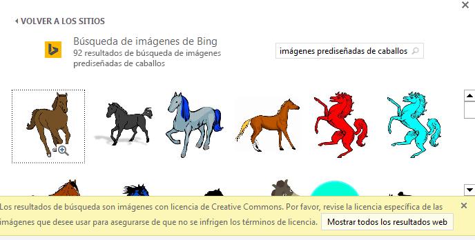 """Si busca """"imágenes prediseñadas de caballos"""" aparecen una variedad de imágenes bajo una licencia de Creative Commons."""