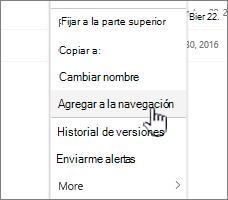 Agregar a la opción de navegación de una lista de páginas