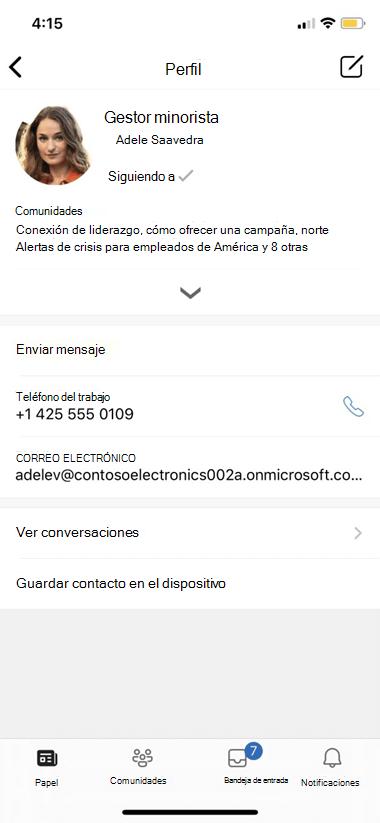 Configuración de Perfil de Yammer Mobile
