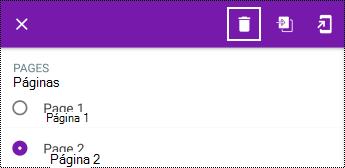 Eliminar una página en un menú contextual largo en OneNote para Android