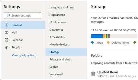 Menú Almacenamiento de carpetas para Outlook Web App.