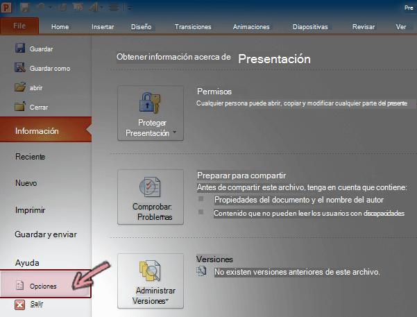 En la pestaña Archivo de la Cinta de opciones en PowerPoint 2010, haga clic en Opciones