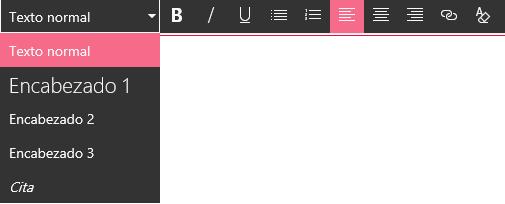 Captura de pantalla del área de edición del editor de texto enriquecido en SharePoint.