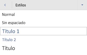 Menú estilos de título de Word para Android