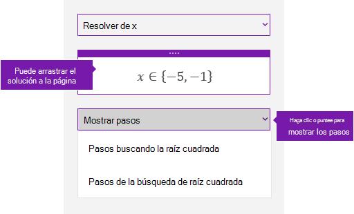 El botón Mostrar pasos en el panel de tareas de matemáticas