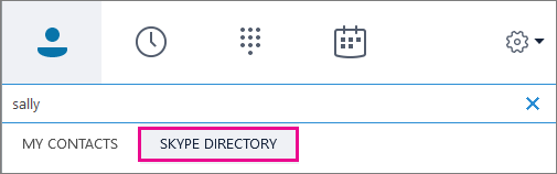 Cuando Directorio de Skype aparece resaltado, puede buscar personas que tengan una cuenta de Skype.