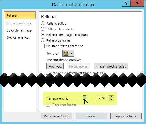 El cuadro de diálogo Dar formato al fondo tiene una barra de control deslizante para ajustar la transparencia de una imagen