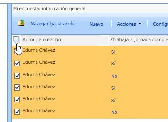 En la pantalla del administrador del sitio, con la encuesta seleccionado, haga clic en el icono Seleccionar todo.