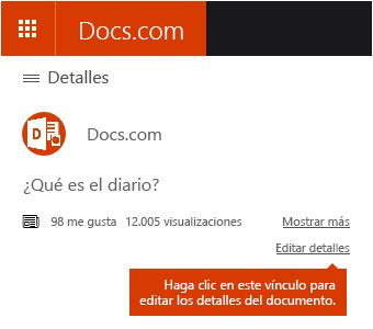 Opción Editar detalles en Docs.com