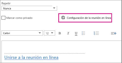 Botón de configuración de la reunión en línea de Outlook Web App
