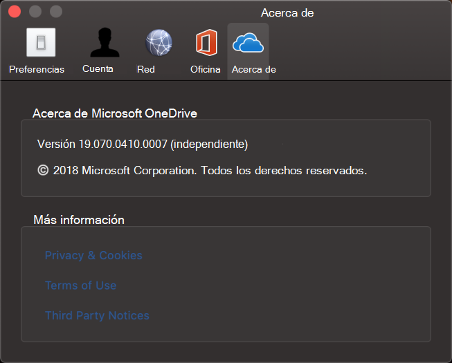 Interfaz del usuario de Acerca de OneDrive para Mac