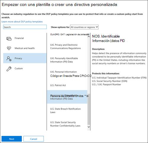 Página para elegir una plantilla de directiva DLP