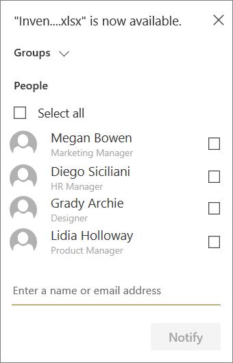 Menú para seleccionar los grupos y miembros a los que se notificará la nueva carga en SharePoint