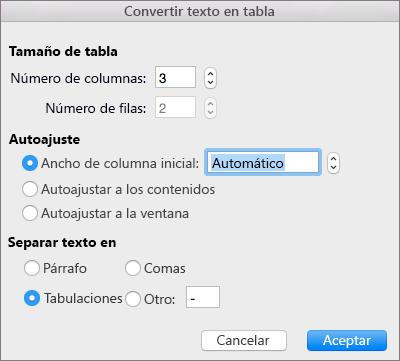 Opciones de conversión de texto a tabla
