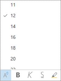 Menú tamaño de fuente abierto en Outlook en la Web.
