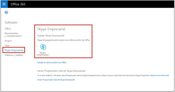Instalar Skype Empresarial desde el portal de Office 365.