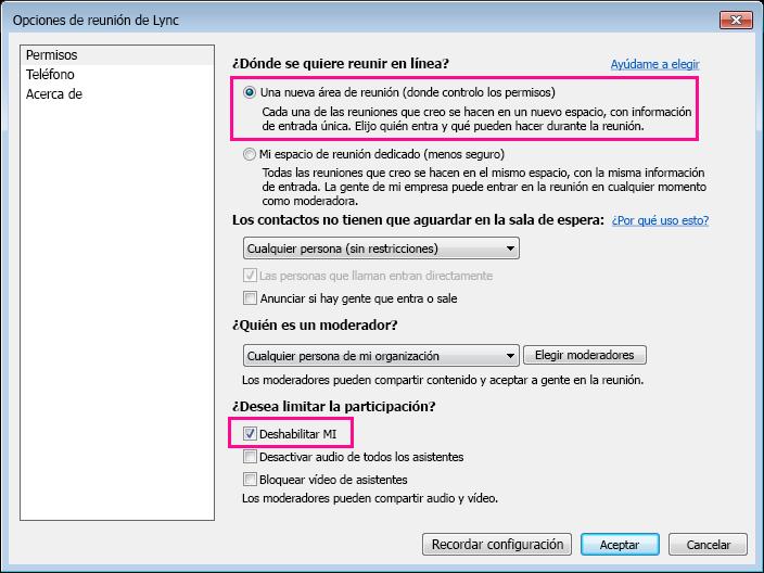Captura de pantalla de la ventana de opciones de Deshabilitar MI en la reunión de Lync