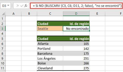 Imagen del uso de ND con BUSCARV para evitar que se muestren #N errores/A.