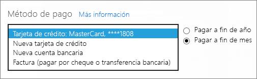 La sección Método de pago de la página ¿Cómo quiere pagar?, con el cuadro desplegable expandido de las opciones de pago.