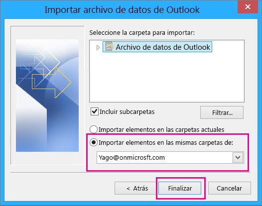 Seleccione Finalizar para importar el archivo pst de Outlook a su buzón de Office 365.