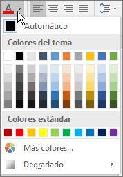 Paleta de colores de fuente