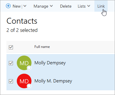 Captura de pantalla del botón Vincular en la página Personas.