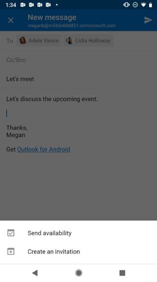 """Se muestra una pantalla de Android con el borrador del correo electrónico atenuado y el botón """"Enviar disponibilidad"""" debajo."""