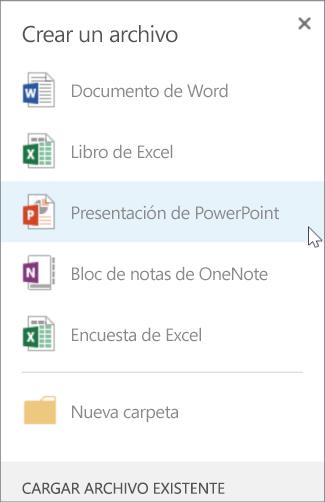 Crear una presentación de PowerPoint nueva