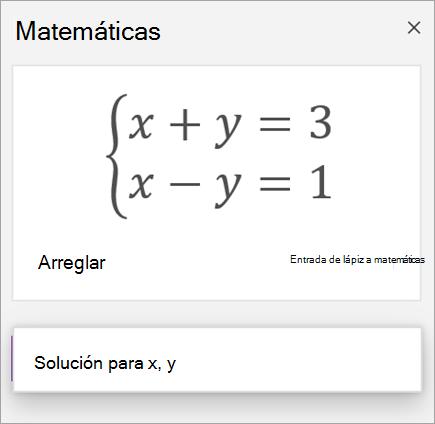 Una ecuación de sistemas escrita entre corchetes
