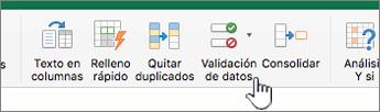 """Menú Datos de la barra de herramientas de Excel con la opción """"Validación de datos"""" seleccionada"""