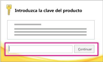 Escriba la clave de producto.