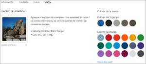 Captura de pantalla: Página de marca de perfil de empresa Agregue el logotipo de su empresa y elija el color de marca.