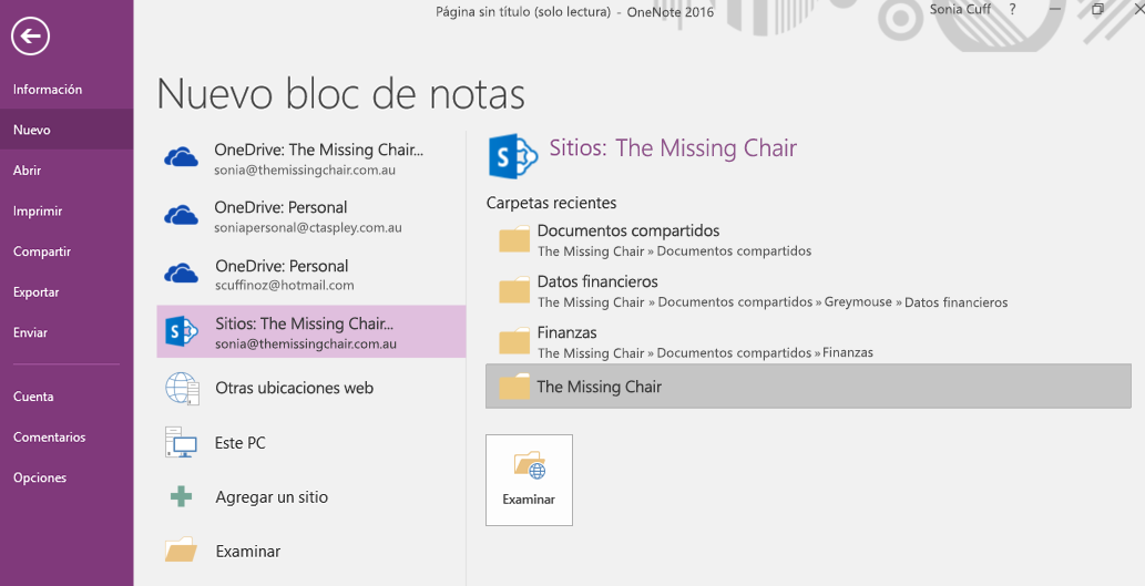 Interfaz de selección de carpeta para Nuevo bloc de notas en OneNote para Windows 2016