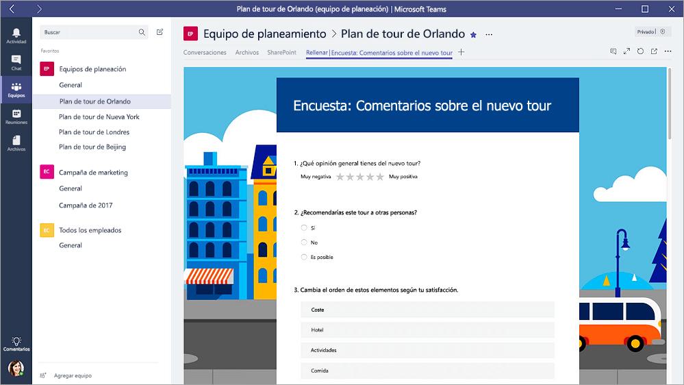 """Ficha de formularios en Microsoft Teams que muestra un formulario en modo de """"Rellenar"""""""