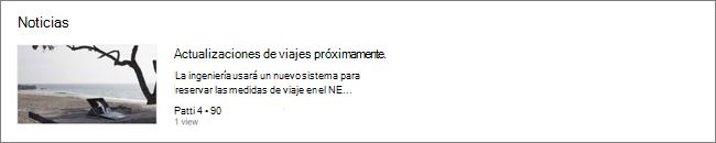 Captura de pantalla del elemento web Noticias de un SharePoint, donde se han filtrado las publicaciones