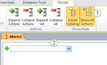 Pestaña de diseño de macros de Access2010.