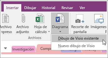 Captura de pantalla del botón Insertar diagrama en OneNote 2016.